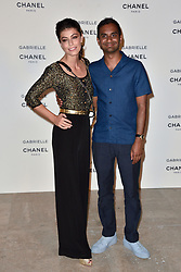 "Alessandra Mastronardi, Aziz Ansari attending the party for the new Chanel perfume ""Gabrielle"", at the Palais de Tokyo in Paris, France, on July 4, 2017. Photo by Alban Wyters/ABACAPRESS.COM"