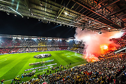 03.05.2018, Red Bull Arena, Salzburg, AUT, UEFA EL, FC Salzburg vs Olympique Marseille, Halbfinale, Rueckspiel, im Bild Uebersicht des Stadions und der Fan Choreographie // during the UEFA Europa League Semifinal, 2nd Leg Match between FC Salzburg and Olympique Marseille at the Red Bull Arena in Salzburg, Austria on 2018/05/03. EXPA Pictures © 2018, PhotoCredit: EXPA/ JFK