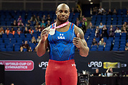 Donnell Whittenburg of the United States of America (USA) poses with his Silver Medal during the iPro Sport World Cup of Gymnastics 2017 at the O2 Arena, London, United Kingdom on 8 April 2017. Photo by Martin Cole.