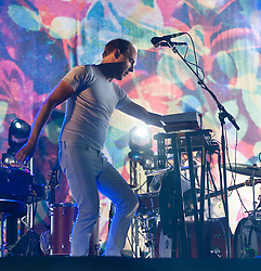 "© Licensed to London News Pictures. 06/06/2015. London, UK.   Caribou performing live at Field Day Festival Saturday Day 1.   Caribou is Daniel Victor ""Dan"" Snaith, a Canadian composer, musician and recording artist who has performed under the stage names Caribou, Manitobaand Daphni.  Photo credit : Richard Isaac/LNP"