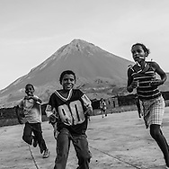Cape Verde. school children and physical training, village of the caldeira in Fogo volcano crater  Fogo island     / Cap-Vert:  enfant de l ecole et education physique , village de la Caldeira , le cratere au pied du volcan pic de Fogo  ile de Fogo    /17