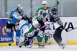 Reid Cashman (EHC Liwest Black Wings Linz, #10) hits Tomi Mustonen (HDD Tilia Olimpija, #21) during ice-hockey match between HDD Tilia Olimpija and EHC Liwest Black Wings Linz in 37th Round of EBEL league, on Januar 9, 2011 at Hala Tivoli, Ljubljana, Slovenia. (Photo By Matic Klansek Velej / Sportida.com)