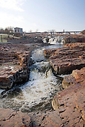 South Dakota SD USA, The city of Sioux Falls. The falls on the Sioux river