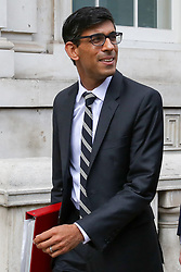© Licensed to London News Pictures. 06/08/2019. London, UK. Chief Secretary to the Treasury RISHI SUNAK leaves Cabinet Office in Whitehall. Photo credit: Dinendra Haria/LNP
