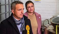 Pictured: Alex Cole-Hamilton and Rebecca Bell, LibDem prospective candidate for Dunfermline and West Fife<br /><br />Scottish Liberal Democrat campaign chair Alex Cole-Hamilton outlined the party's plans to target new ground such as Edinburgh North and Leith, as well as recapturing the party's traditional Scottish heartlands in the snap election, as he toured a gin distillery in Edinburgh<br /><br />Ger Harley | EEm 25 November 2019