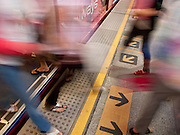 04 OCTOBER 2009 -- BANGKOK, THAILAND: Passengers get off the Sky Train at the Sala Daeng station in Bangkok, Thailand.  PHOTO BY JACK KURTZ