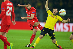 DORTMUND, GERMANY - Thursday, April 7, 2016: Liverpool's Emre Can in action against Borussia Dortmund's Gonzalo Castro during the UEFA Europa League Quarter-Final 1st Leg match at Westfalenstadion. (Pic by David Rawcliffe/Propaganda)