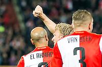 ROTTERDAM - Feyenoord - AZ , Voetbal , Eredivisie, Seizoen 2015/2016 , Stadion de Kuip , 25-10-2015 , Speler van Feyenoord Dirk Kuyt (m) viert zijn doelpunt