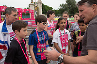 See Coe talks to young runners from the Mini Marathon at The Vitality Westminster Mile, Sunday 28th May 2017.<br /> <br /> Photo: Paul Gregory for The Vitality Westminster Mile<br /> <br /> For further information: media@londonmarathonevents.co.uk