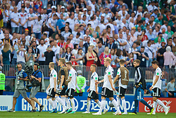 MOSCOW, RUSSIA - Sunday, June 17, 2018: Germany players walk off dejected after losing 1-0 to Mexico during the FIFA World Cup Russia 2018 Group F match between Germany and Mexico at the Luzhniki Stadium. (Pic by David Rawcliffe/Propaganda)
