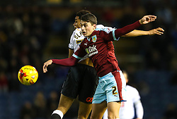 Burnley's Matthew Lowton challenges Nick Blackman of Derby County - Mandatory byline: Matt McNulty/JMP - 25/01/2016 - FOOTBALL - Turf Moor - Burnley, England - Burnley v Derby County - Sky Bet Championship