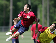17 May 2006: Midfielder Landon Donovan (left) and defender Carlos Bocanegra (right). The United States' Men's National Team trained at SAS Soccer Park in Cary, NC, in preparation for the 2006 World Cup tournament to be played in Germany from June 9 through July 9, 2006.