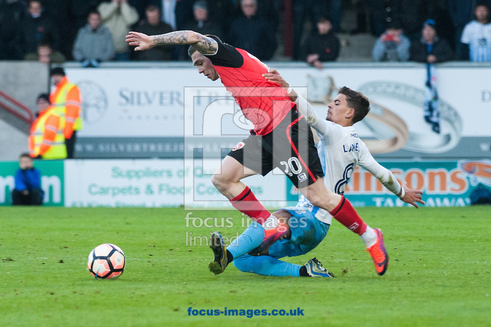 Jack Dunn of Morecambe is tackled by Ruben Lameiras of Coventry City during the first round FA Cup match at the Globe Arena, Morecambe<br /> Picture by Matt Wilkinson/Focus Images Ltd 07814 960751<br /> 06/11/2016