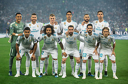 Team Real Madrid posing for a photo prior to the UEFA Champions League final football match between Liverpool and Real Madrid at the Olympic Stadium in Kiev, Ukraine on May 26, 2018.Photo by Sandi Fiser / Sportida