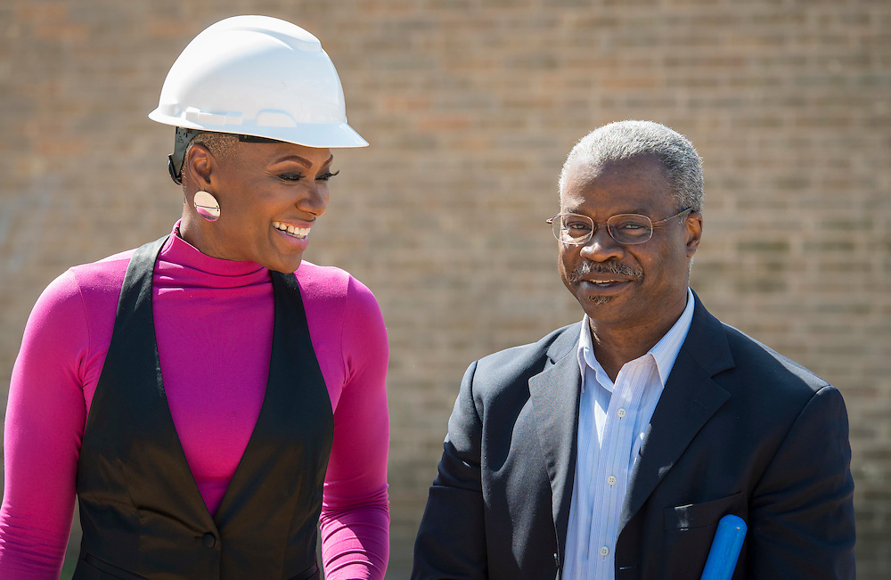 Houston ISD trustee Jolanda Jones talks with Charles Cave during a groundbreaking ceremony at Codwell Elementary School, March 3, 2017.