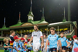 March 23, 2019 - Sydney, NSW, U.S. - SYDNEY, NSW - MARCH 23: Waratahs player Michael Hooper (7) and Crusaders player Sam Whitelock (5) walk onto the field at round 6 of Super Rugby between NSW Waratahs and Crusaders on March 23, 2019 at The Sydney Cricket Ground, NSW. (Photo by Speed Media/Icon Sportswire) (Credit Image: © Speed Media/Icon SMI via ZUMA Press)