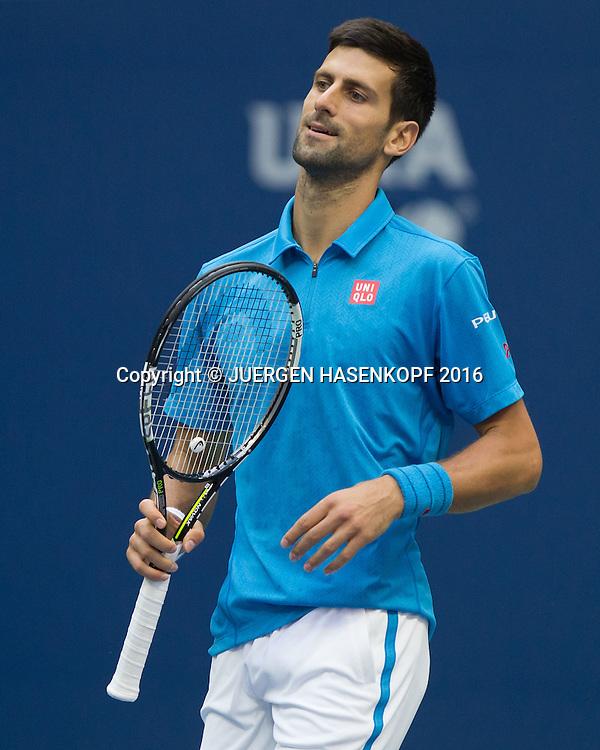 NOVAK DJOKOVIC (SRB) reagiert enttaeuscht,Frust,Emotion,<br /> <br /> Tennis - US Open 2016 - Grand Slam ITF / ATP / WTA -  USTA Billie Jean King National Tennis Center - New York - New York - USA  - 11 September 2016.