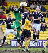 Livingston keeper Andrew McNeil denies Dundee's Graham Bayne and Neil McGregor - Livingston v Dundee, IRN BRU Scottish Football League, First Division - ..© David Young - .5 Foundry Place - .Monifieth - .Angus - .DD5 4BB - .Tel: 07765 252616 - .email: davidyoungphoto@gmail.com.web: www.davidyoungphoto.co.uk
