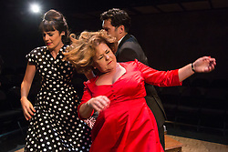 © Licensed to London News Pictures. 02/09/2015. London, UK. Fighting on stage with L-R: DanielleFlett, Wendi Peters and James Wrighton. World premiere of Hatched 'n' Dispatched, a black comedy set on one evening in 1959, opens at the Park Theatre in Finsbury Park. Written by Gemma Page & Michael Kirk, directed by Michael Kirk, the comedy stars Wendi Peters, Diana Vickers and Vicky Binns. Running from 1 to 26 September 2016. Photo credit : Bettina Strenske/LNP