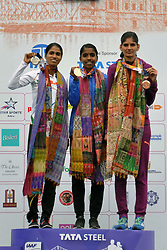 December 16, 2018 - Kolkata, West Bengal, India - Overall India elite athlete women final L. Suriya (middle) 1:28:29, Sudha Singh (left) 1:29:11 and Parul Chaudhary (right) got the top position in Tata Steel Kolkata 25K 218. (Credit Image: © Saikat Paul/Pacific Press via ZUMA Wire)