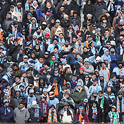 NEW YORK, NEW YORK - March 12: New York City FC fans during the NYCFC Vs D.C. United regular season MLS game at Yankee Stadium on March 12, 2017 in New York City. (Photo by Tim Clayton/Corbis via Getty Images)