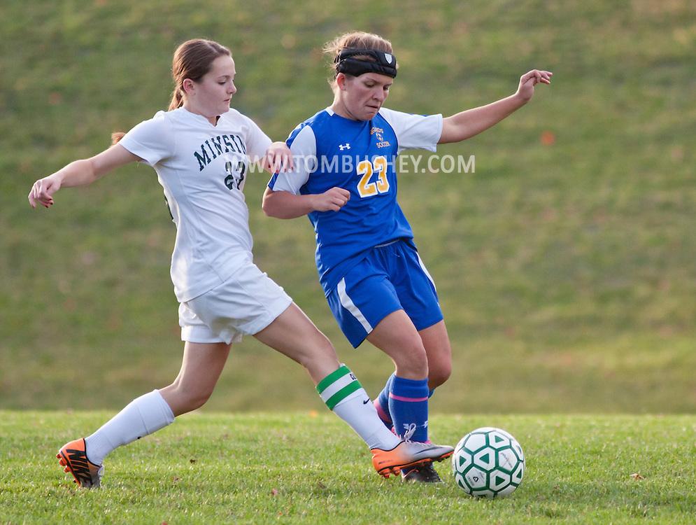 Slate Hill, New York  - Washingtonville plays Minisink Valley in a varsity girls' soccer game on Oct. 20, 2014. Washingtonville won 1-0