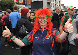 Mary Irwin from Belmullet enjoying the All Ireland final atmosphere on her way to Croke Park.<br />