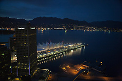 Aerial view of Canada Place at night, Vancouver, British Columbia, Canada