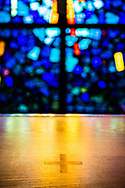 The altar and stained glass on Wednesday, May 13, 2020, at St. Paul's Lutheran Church, Columbia, Ill. LCMS Communications/Erik M. Lunsford