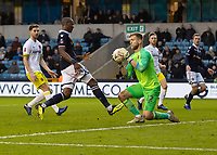 Football - 2018 / 2019 FA Cup - Third Round: Millwall vs. Hull City<br /> <br /> George Long (Hull City) collects in front of Tom Elliott (Millwall FC) at The Den.<br /> <br /> COLORSPORT/DANIEL BEARHAM