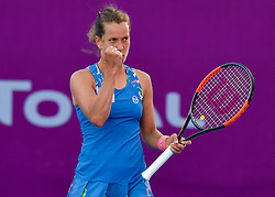DOHA, Feb. 14, 2019  Barbora Strycova of Czech Republic reacts during the women's singles second round match between Anna Blinkova of Russia and Barbora Strycova of Czech Republic at the 2019 WTA Qatar Open in Doha, Qatar, Feb. 13, 2019. Strycova won 2-1. (Credit Image: © Nikku/Xinhua via ZUMA Wire)