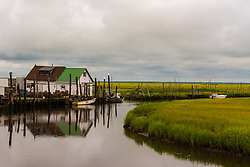 New Jersey Pinelands--June 28, 2016. A Ccabbing shack in the wetlands on a cloudy day. Editorial Use Only.