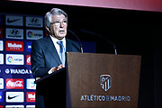 Atletico Madrid's President Enrique Cerezo delivers a speech during the official presentation of Atletico Madrid's new French midfielder Thomas Lemar at the Wanda Metropolitano Stadium in Madrid on July 30, 2018. - Photo Benjamin Cremel / ProSportsImages / DPPI