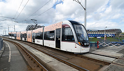 Edinburgh tram passing Murrayfield Stadium, Edinburgh, Scotland, UK