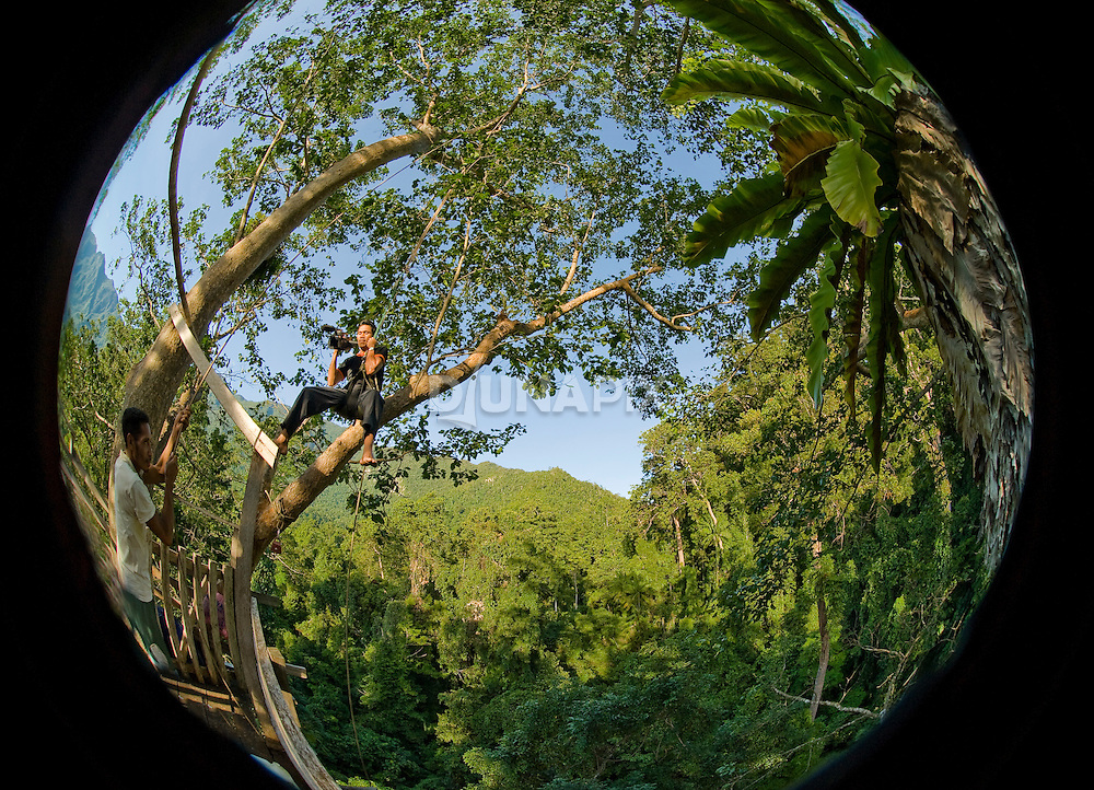 Fisheye (or bird's eye?) view from the Morite canopy platform. Peter hoists Naldo on a rope to shoot a video teaser for a 3D Nat Geo documentary series on rainforests.