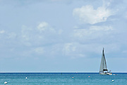 A sailboat in the caribbean sea.
