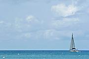 A sailboat in the caribbean sea.