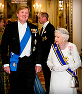 King Willem-Alexander and Queen Maxima of The Netherlands pose with Queen Elizabeth and Prince Charles of the United Kingdom for the official photo ahead the state banquet in Buckingham Palace in Londen, United Kingdom, 22 October 2018. The Dutch King and Queen are in the United Kingdom for an two day official state visit.  copyright robin utrecht