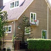 NLD/Amsterdam/20060629 - Palestijnse vlag aan het balkon van de woning van Gretta Duisenberg - Nieuwenhuizen in Amsterdam