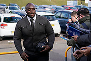 Adebayo Akinfenwa of Wycombe Wanderers arrives at Adams Park during the EFL Sky Bet League 1 match between Wycombe Wanderers and Sunderland at Adams Park, High Wycombe, England on 19 October 2019.