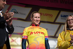 Hayley Simmonds (GBR) of Team WNT celebrates taking over the yellow jersey after Stage 3 of the Lotto Thuringen Ladies Tour - a 124 km road race, starting and finishing in Weimar on July 15, 2017, in Thuringen, Germany. (Photo by Balint Hamvas/Velofocus.com)