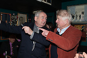 JOHN BIRD; STANLEY JOHNSON, launch of The Necessity of Poverty by John Bird published by Quartet. Gerry's Club, 52 Dean Street, London, 18 December 2012.