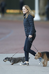 © Licensed to London News Pictures. 29/10/2018. London, UK. Susan Hammond, wife of Chancellor of the Exchequer Philip Hammond is seen walking her dogs near the back of Downing Street. Later today the Chancellor will deliver his Autumn Budget to Parliament. Photo credit: Peter Macdiarmid/LNP
