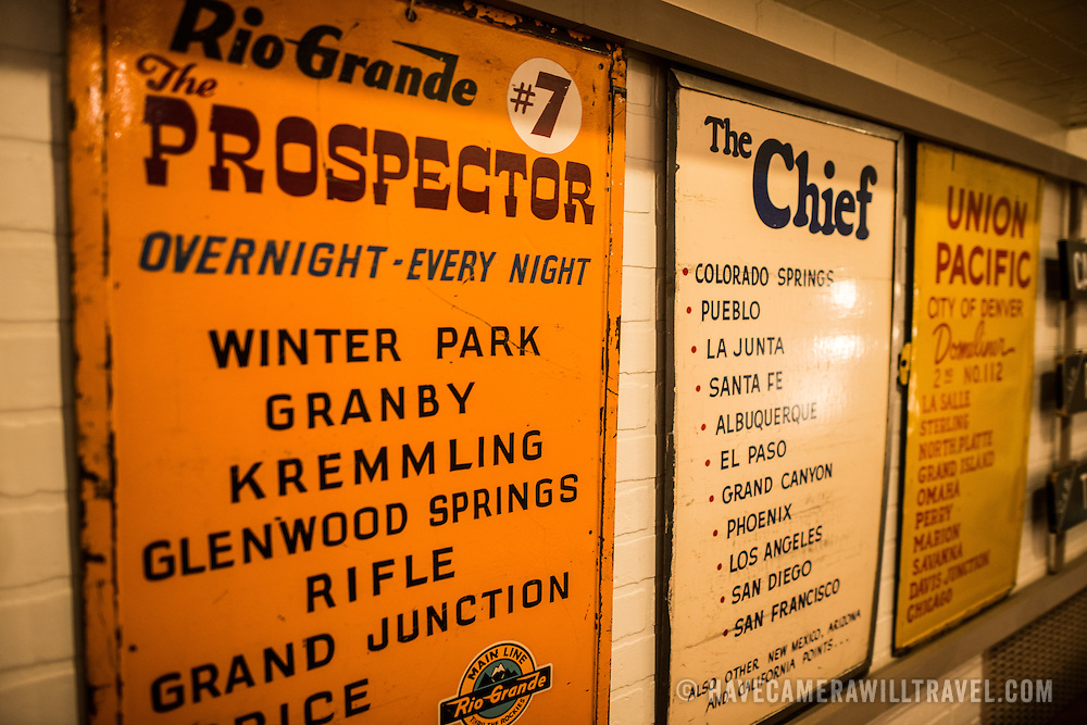 Historic train signs on display at the Colorado Railroad Museum in Golden, Colorado.
