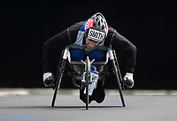Rob Smith GBR competing in the Wheelchair Men's Race exits Blackfriars Underpass. The Virgin Money London Marathon, 23rd April 2017.<br /> <br /> Photo: Charlotte Wilson for Virgin Money London Marathon<br /> <br /> For further information: media@londonmarathonevents.co.uk