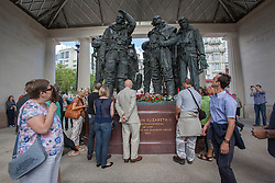 © licensed to London News Pictures. London, UK 30/06/2012. People visiting Bomber Command Memorial in Green Park in the name of 55,573 Bomber Command airmen who gave their lives in the Second World. The memorial was opened by the Queen earlier this week. Photo credit: Tolga Akmen/LNP