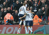 Football - 2017 / 2018 Premier League - Tottenham Hotspur vs. Arsenal<br /> <br /> Tottenham players surround Harry Kane (Tottenham FC)  after he scores the winning goal at Wembley Stadium.<br /> <br /> COLORSPORT/DANIEL BEARHAM