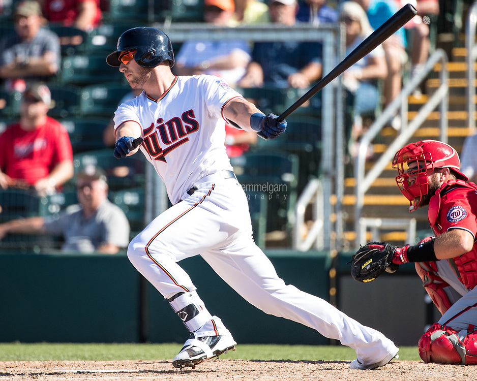 FORT MYERS, FL- FEBRUARY 26: Mitch Garver #43 of the Minnesota Twins bats against the Washington Nationals on February 26, 2017 at Hammond Stadium in Fort Myers, Florida. (Photo by Brace Hemmelgarn) *** Local Caption *** Mitch Garver
