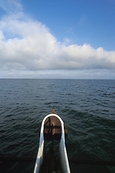 Bow of chater fishing boat in the Gulf of Mexico.