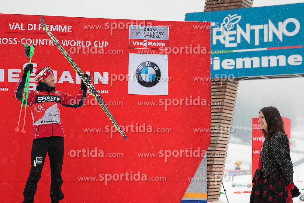 04.01.2014, Langlaufstadion, Lago di Tesero, ITA, FIS Langlauf Weltcup, Tour de Ski, Langlauf Herren, Individual Start 10Km, Siegerpraesentation, im Bild Sundby Martin (NOR) // celebrate on Podium after the Men 10 km Cross Country of the Tour de Ski 2014 of FIS Cross Country World Cup at the Cross Country Stadium, Lago di Tesero, Italy on 2014/01/04. EXPA Pictures  ©  2014, PhotoCredit: EXPA/ Federico Modica
